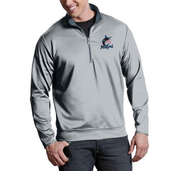 アンティグア メンズ ジャケット&ブルゾン アウター Miami Marlins Antigua Leader Quarter-Zip Pullover Jacket Silver