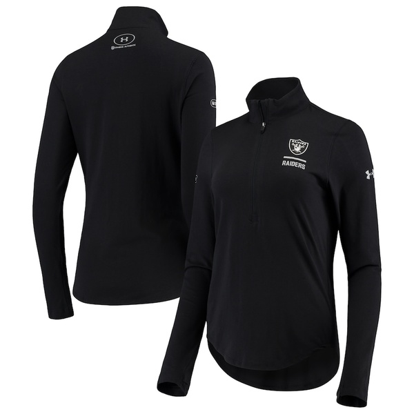 アンダーアーマー レディース ジャケット&ブルゾン アウター Las Vegas Raiders Under Armour Women's Combine Authentic Favorites Performance Half-Zip Pullover Jacket Black