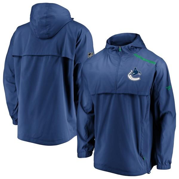 ファナティクス メンズ ジャケット&ブルゾン アウター Vancouver Canucks Fanatics Branded Authentic Pro Rinkside Anorak 1/4-Zip Jacket Blue