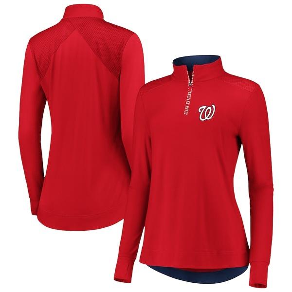 ファナティクス レディース ジャケット&ブルゾン アウター Washington Nationals Fanatics Branded Women's Iconic Clutch Half-Zip Pullover Jacket Red