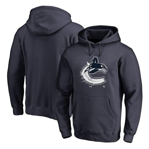 ファナティクス メンズ パーカー・スウェットシャツ アウター Vancouver Canucks Fanatics Branded Splatter Logo Pullover Hoodie Navy