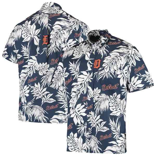 レインスプーナー メンズ シャツ トップス Detroit Tigers Reyn Spooner Aloha Button-Down Shirt Navy