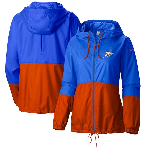 コロンビア レディース ジャケット&ブルゾン アウター Oklahoma City Thunder Columbia Women's Flash Forward Full-Zip Windbreaker Jacket Blue