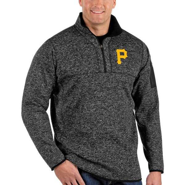 アンティグア メンズ ジャケット&ブルゾン アウター Pittsburgh Pirates Antigua Fortune Big & Tall Quarter-Zip Pullover Jacket Heather Black