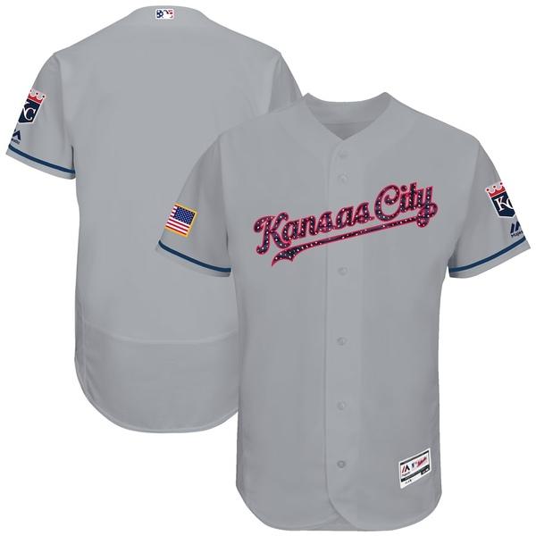 マジェスティック メンズ シャツ トップス Kansas City Royals Majestic 2017 Stars & Stripes Authentic Collection Flex Base Team Jersey Gray