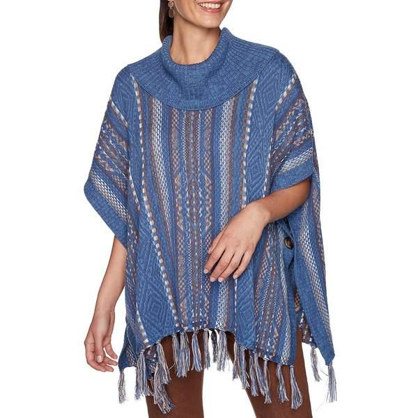 Jacquard レディース ルビーロード Hem Blue/Camel Neck Southwest Petite Size ニット&セーター Multi Sweater Fringe Cowl Poncho アウター