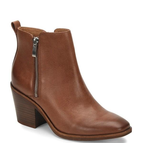 ブーツ&レインブーツ Heel Booties Double ソフト Cognac Leather Block レディース Canelli シューズ Zipper