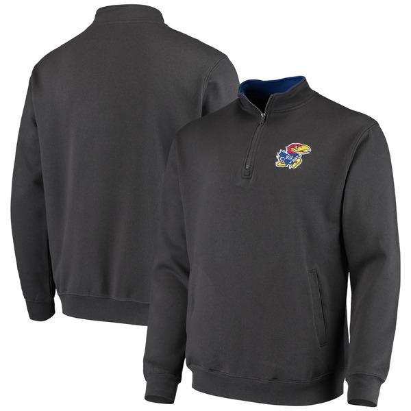 コロシアム メンズ ジャケット&ブルゾン アウター Kansas Jayhawks Colosseum Tortugas Logo QuarterZip Pullover Jacket Heathered Gray
