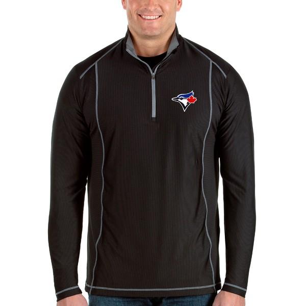 アンティグア メンズ ジャケット&ブルゾン アウター Toronto Blue Jays Antigua Tempo Big & Tall HalfZip Pullover Jacket Black