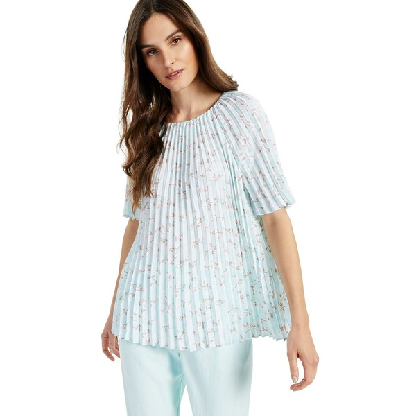 for Created レディース カットソー Small Pleated トップス Printed アルファニ Macy's Top, Bloom Blue