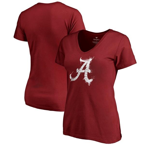 ファナティクス レディース Tシャツ トップス Alabama Crimson Tide Fanatics Branded Women's Splatter Logo VNeck TShirt Crimson