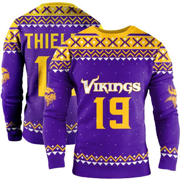 フォコ メンズ シャツ トップス Adam Thielen Minnesota Vikings Name & Number Crewneck Sweater Purple