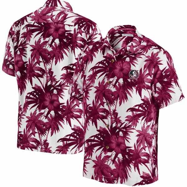 トッミーバハマ メンズ シャツ トップス Florida State Seminoles Tommy Bahama Harbor Island Hibiscus ButtonUp Shirt Garnet