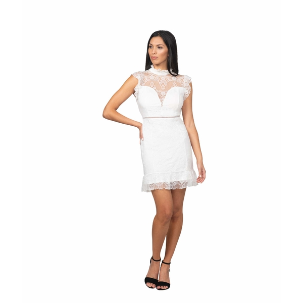 【税込】 ベベ Dress レディース ワンピース トップス Ruffle Mock Neck ワンピース Lace Lace Dress White, 四次元 ねっとフリマ:b8ca27e1 --- zhungdratshang.org