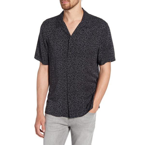 ペイジ メンズ シャツ トップス Landon Slim Fit Camp Shirt Arid Black