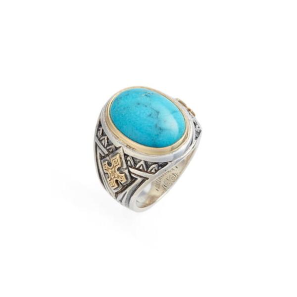 コンスタンティーノ メンズ リング アクセサリー Heonos Turquoise Ring Silver/ Gold/ Turquoise