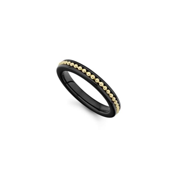 ラゴス レディース リング アクセサリー Gold & Black Caviar Band Ring Gold/ Black Ceramic