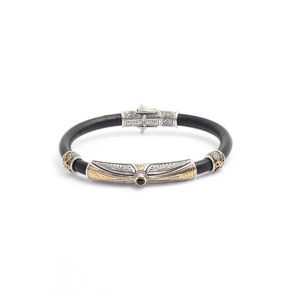 コンスタンティーノ メンズ ブレスレット・バングル・アンクレット アクセサリー Stavros Leather Bracelet with Onyx Silver/ Gold