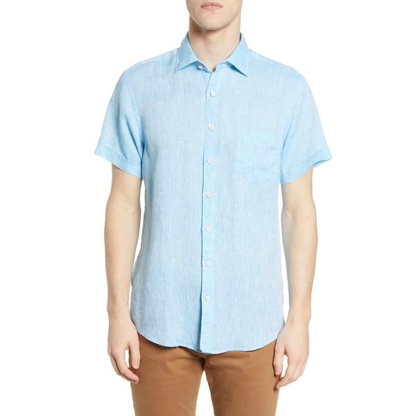 ロッドアンドグン メンズ シャツ トップス Regular Fit Ellerslie Linen Shirt Glacier