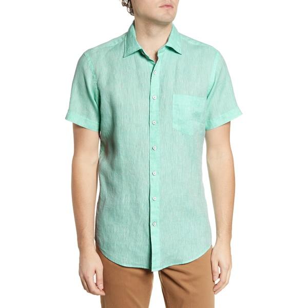 ロッドアンドグン メンズ シャツ トップス Regular Fit Ellerslie Linen Shirt Spearmint