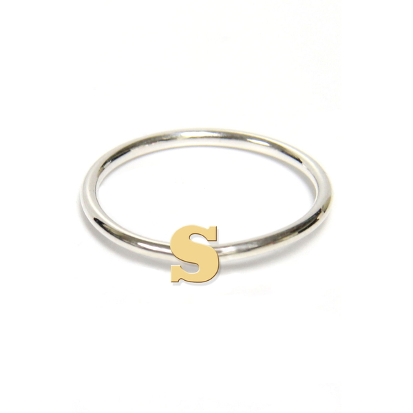 ジェインバシュデザインズ レディース リング アクセサリー Two-Tone Initial Ring Gold- S