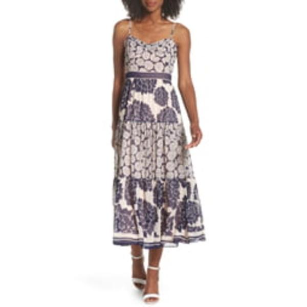 エリザジェイ レディース ワンピース トップス Print Midi Dress Navy/ Blush