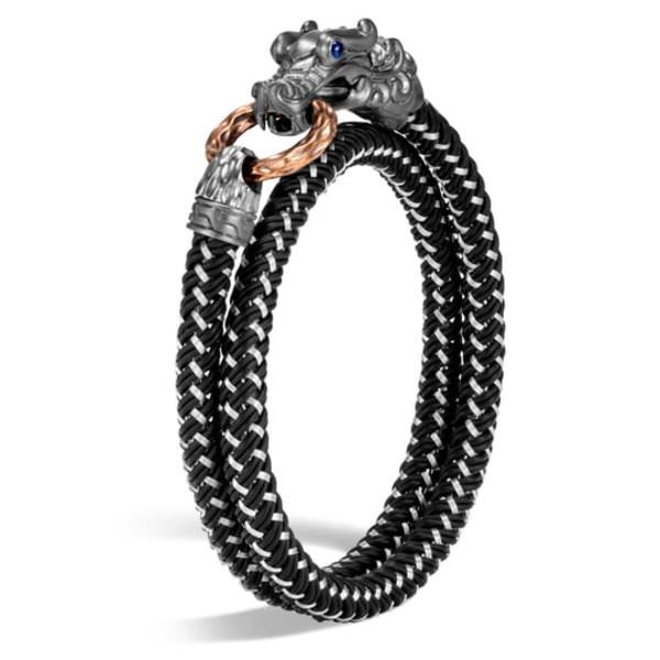 ジョン・ハーディー メンズ ブレスレット・バングル・アンクレット アクセサリー Men's Legends Naga Double Wrap Bracelet Silver/ Chord/ Bronze