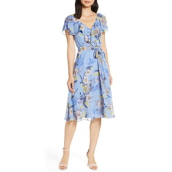エリザジェイ レディース ワンピース トップス Floral Ruffle Chiffon Dress Ice Blue