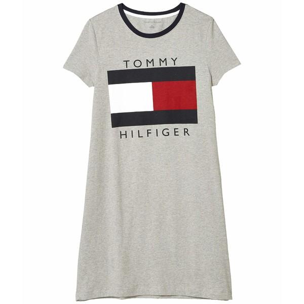 トミー ヒルフィガー レディース ワンピース トップス TH Flag Crew T-Shirt Dress Stone Grey Heather