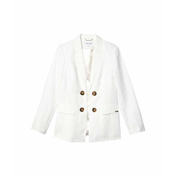 カルバンクライン レディース コート アウター Linen Double Breasted Jacket White