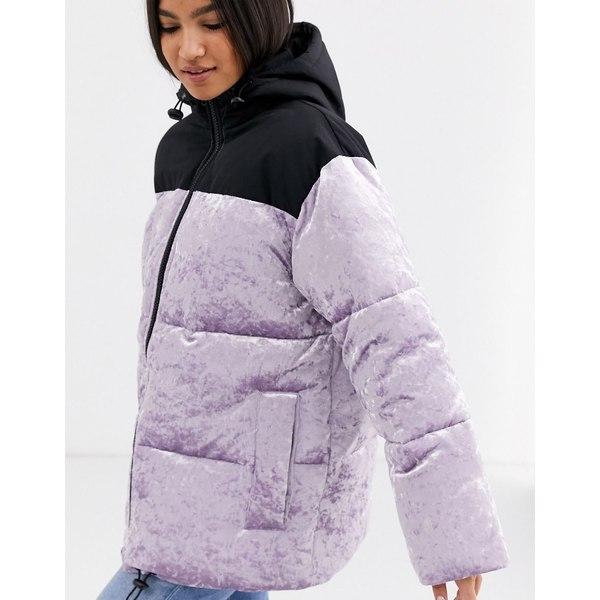 エイソス レディース ジャケット&ブルゾン アウター ASOS DESIGN velvet paneled puffer jacket in lilac Lilac