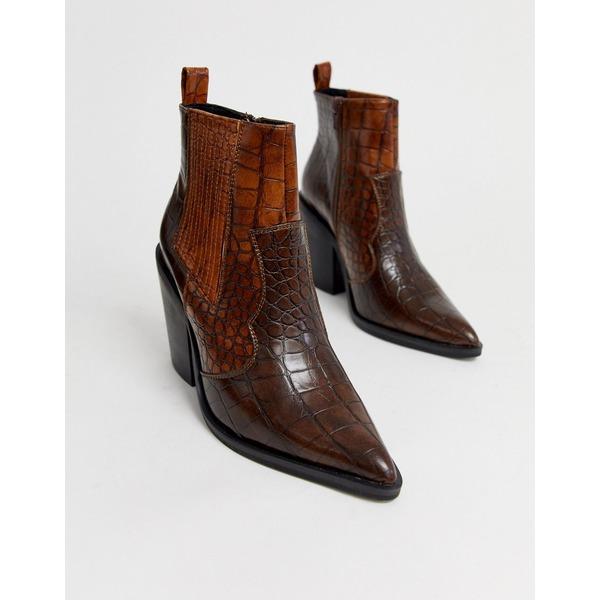エイソス レディース ブーツ&レインブーツ シューズ ASOS DESIGN Elliot western ankle boots in brown croc Brown croc