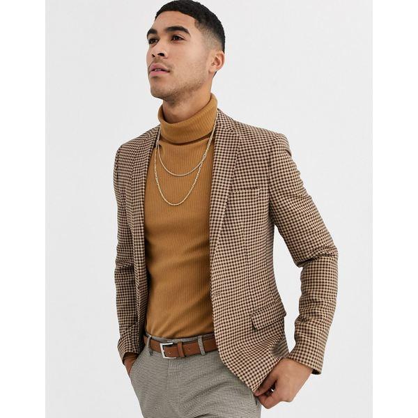 エイソス メンズ ジャケット&ブルゾン アウター ASOS DESIGN skinny blazer with micro check in beige Beige