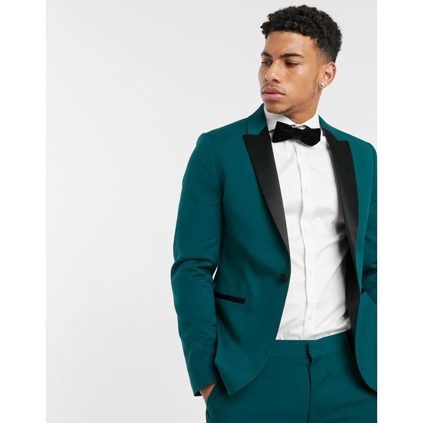 エイソス メンズ ジャケット&ブルゾン アウター ASOS DESIGN skinny tuxedo suit jacket in forest green Green