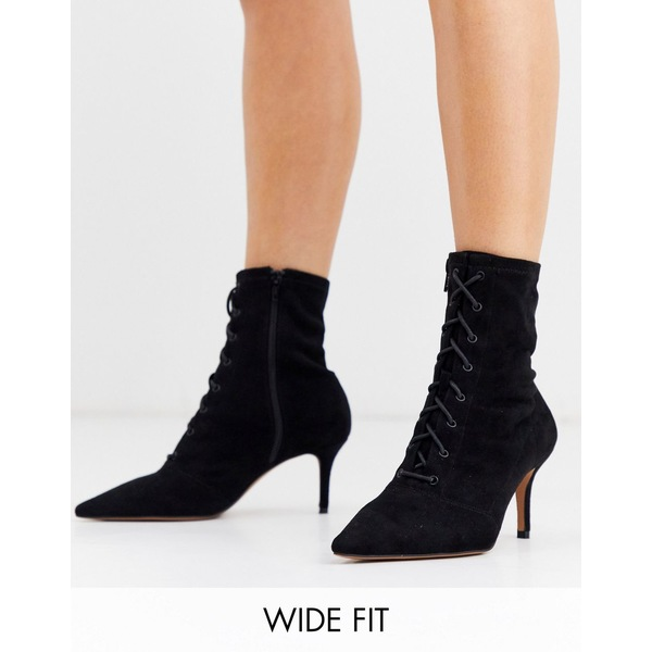 エイソス レディース ブーツ&レインブーツ シューズ ASOS DESIGN Wide Fit Respect lace up kitten heel boots in black Black