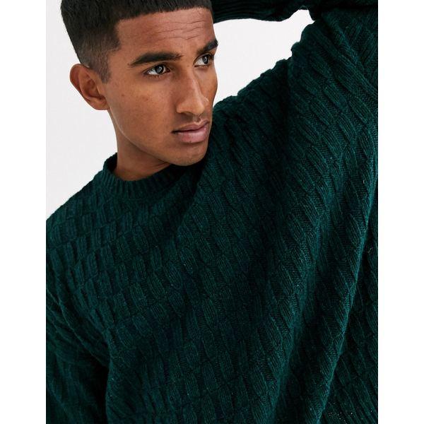 エイソス メンズ ニット&セーター アウター ASOS DESIGN oversized textured sweater in teal Teal