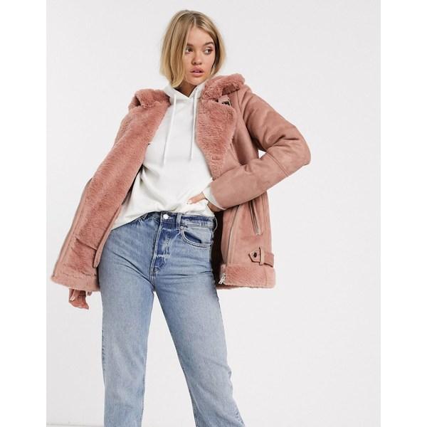 ストラディバリウス レディース ジャケット&ブルゾン アウター Stradivarius aviator jacket in pink Pink