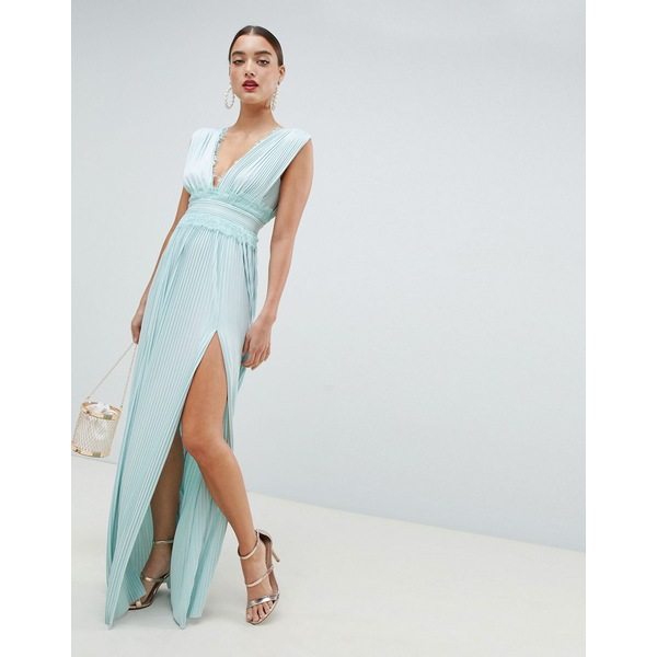エイソス レディース ワンピース トップス ASOS DESIGN Premium Lace Insert Pleated Maxi Dress Sage