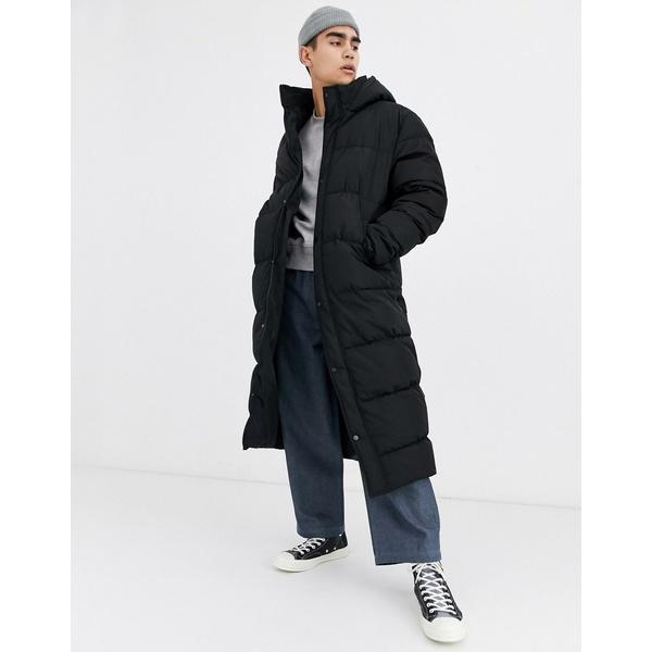 エイソス メンズ コート アウター ASOS DESIGN sustainable puffer jacket with hood in black Black