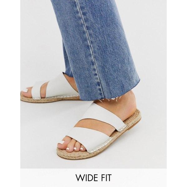 エイソス レディース サンダル シューズ ASOS DESIGN Wide Fit Vienna leather espadrille flat sandals in white White leather