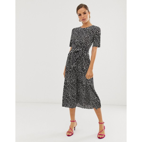 エイソス レディース ワンピース トップス ASOS DESIGN midi tie waist plisse dress in mono spot Mono