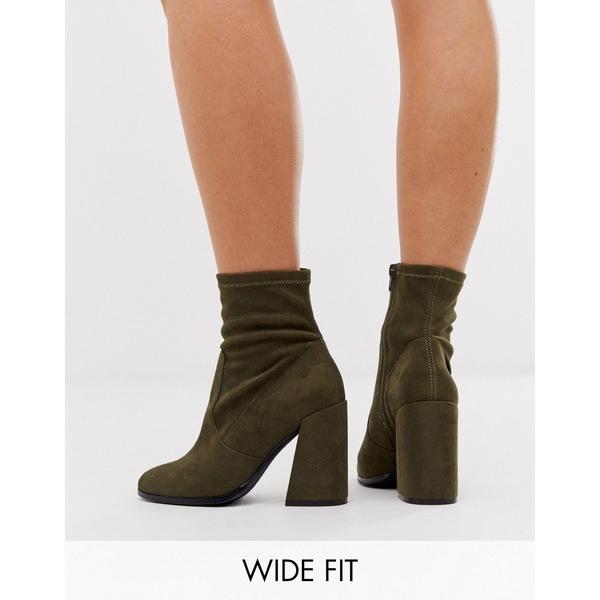 エイソス レディース ブーツ&レインブーツ シューズ ASOS DESIGN Wide Fit Ellan heeled sock boots Khaki