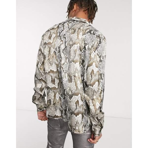 ハートアンドダガー メンズ シャツ トップス Heart & Dagger snake print shirt with long sleeves Gray