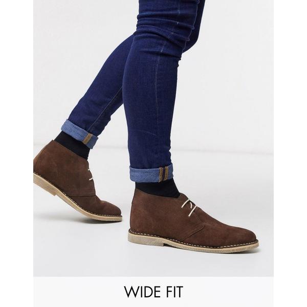 エイソス メンズ ブーツ&レインブーツ シューズ ASOS DESIGN Wide Fit desert chukka boots in brown suede Brown