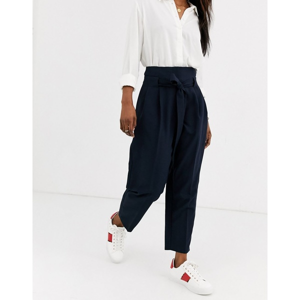 エイソス レディース カジュアルパンツ ボトムス ASOS DESIGN tailored tie waist tapered ankle grazer pants Navy