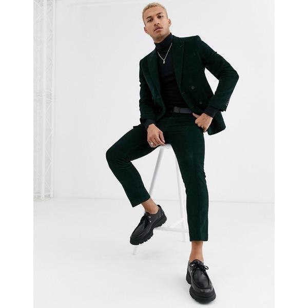 リバーアイランド メンズ カジュアルパンツ ボトムス River Island suit pants in green cord Green