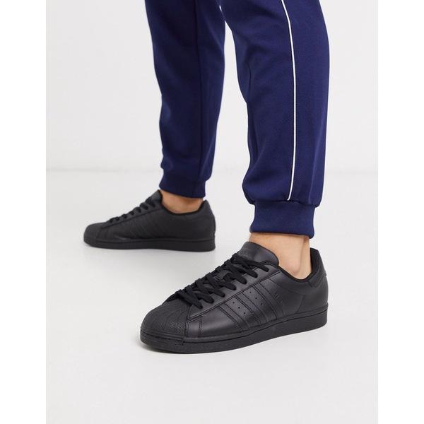 アディダスオリジナルス メンズ スニーカー シューズ adidas Originals new superstar sneakers in triple black Black