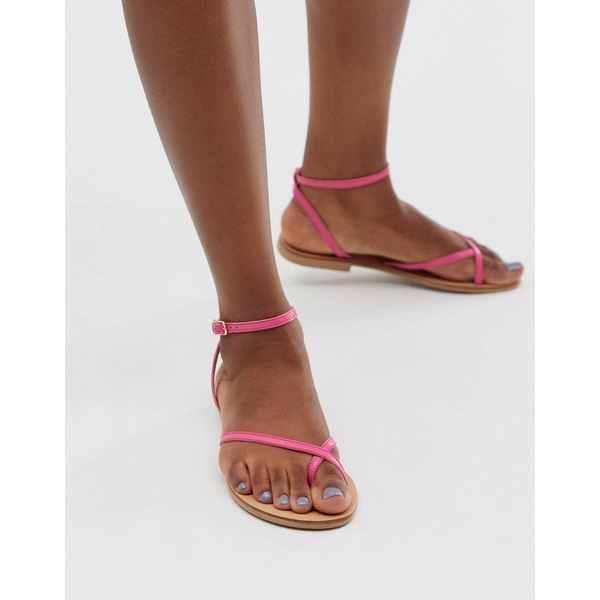 エイソス レディース サンダル シューズ ASOS DESIGN Freefall minimal toe loop flat sandals in pink Pink