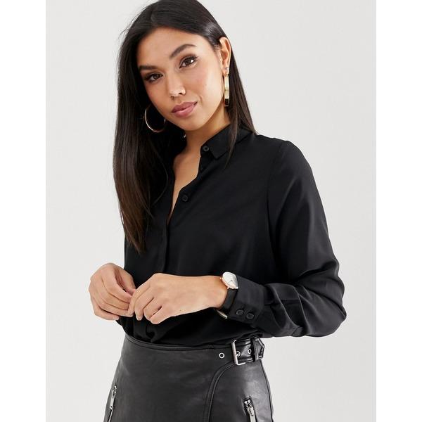 エイソス レディース シャツ トップス ASOS DESIGN soft long sleeve shirt Black