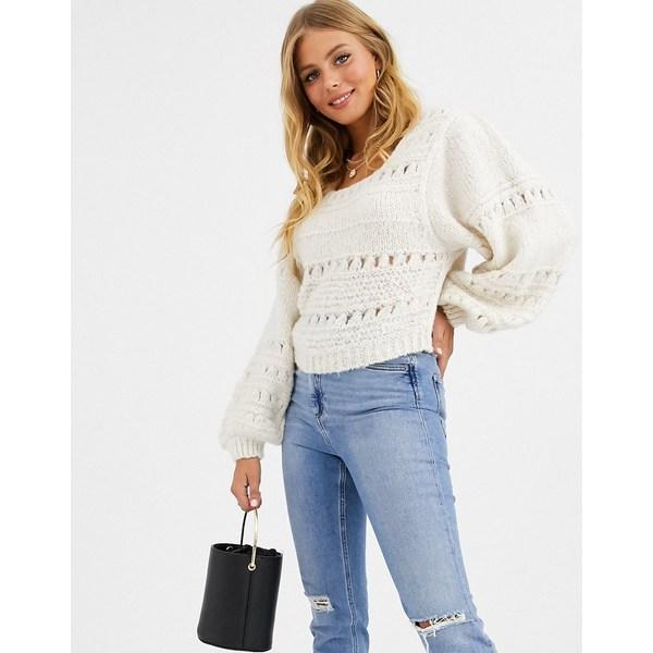 エイソス レディース ニット&セーター アウター ASOS DESIGN stitch detail square neck sweater with volume sleeve Cream